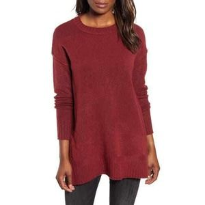 CASLON Red Cordovan Long Sleeve Side Snap Sweater